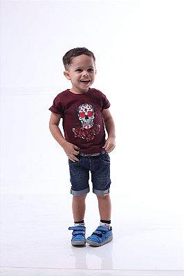 Camiseta Infantil Vinho Caveira Mexicana