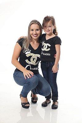 MÃE E FILHA > Kit 02 Camisetas Rainha e Princesa Preta [Coleção Tal Mãe Tal Filha]