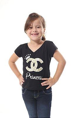 Camiseta Infantil Princesa Preto
