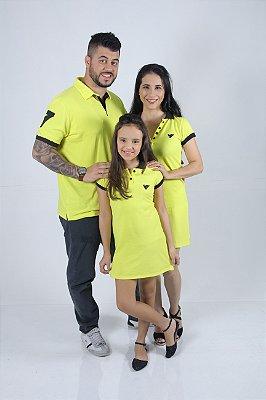 PAIS E FILHOS > Kit 3 peças Vestidos  Polo e Camisa Amarelo [Coleção Família]