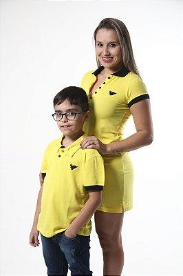 MÃE E FILHO > Kit 02 peças Vestido e Camisa Polo Infantil Amarelo [Coleção Tal Mãe Tal Filho]