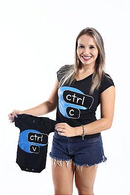 MÃE E FILHO > Kit Camiseta + Body Pretos CTRL-C & CTRL-V [Coleção Tal Mãe Tal Filho]