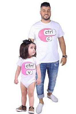 PAI E FILHA > Kit Body + Camiseta Brancas Ctrl+C Ctrl+V [Coleção Tal Pai Tal Filho]