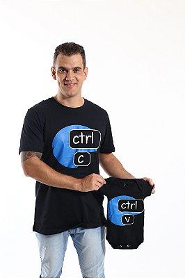 PAI E FILHO > Kit Body + Camiseta Preta Ctrl+C Ctrl+V [Coleção Tal Pai Tal Filho]