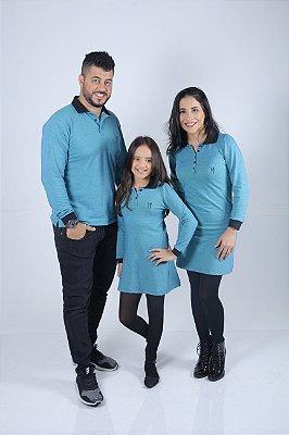 Kit Família Polo e Vestidos Verdes Manga Longa