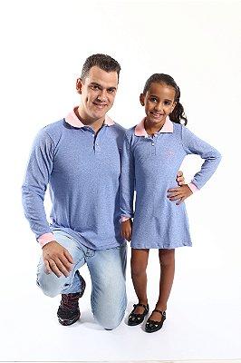 PAI E FILHA > Kit Polo e Vestido Azuis [Coleção Tal Pai Tal Filho]