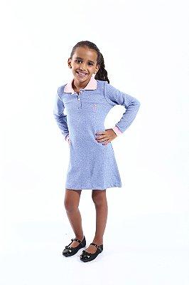 Vestido Infantil Manga Longa Azul