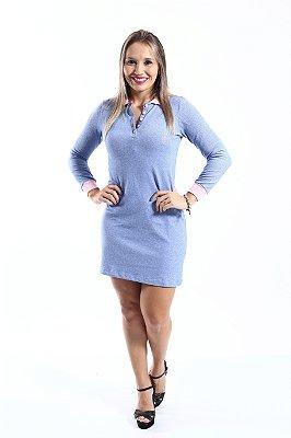 Vestido Manga Longa Azul