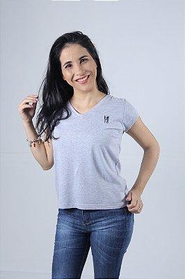 Camiseta Feminina Cinza Bordada