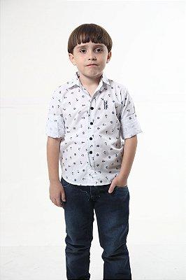 Camisa Social Marinheiro Branca Infantil