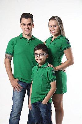 PAIS E FILHOS > Kit 3 peças Camisas Polo e Vestido Verdes Esperança [Coleção Família]
