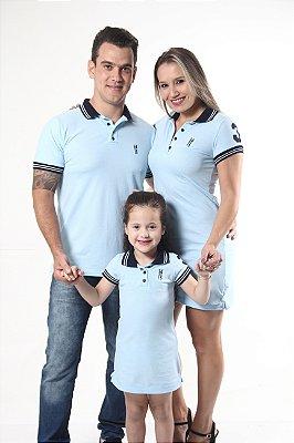 PAIS E FILHOS > Kit 3 peças Vestidos Polo e Camisa Azuis Nobreza [Coleção Família]