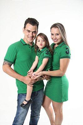 PAIS E FILHOS > Kit 3 peças Vestidos  Polo e Camisa Verdes Esperança [Coleção Família]