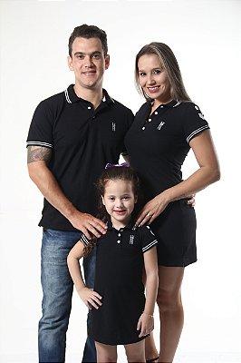 PAIS E FILHOS > Kit 3 peças Vestidos Polo e Camisa Pretos Elegância [Coleção Família]