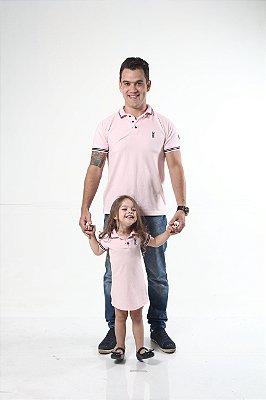 PAI E FILHA > Kit 02 peças Camisa Polo e Vestido Rosa Amor [Coleção Tal Pai Tal Filho]