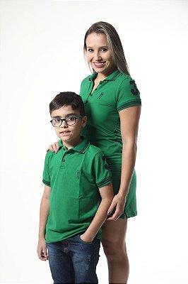MÃE E FILHO > Kit 02 peças Vestido e Camisa Polo Infantil Verde Esperança [Coleção Tal Mãe Tal Filho]