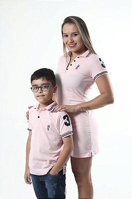 MÃE E FILHO > Kit 02 peças Vestido e Camisa Polo Infantil Rosa Amor [Coleção Tal Mãe Tal Filho]
