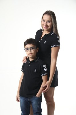 MÃE E FILHO > Kit 02 peças Vestido e Camisa Polo Infantil Preto Elegância [Coleção Tal Mãe Tal Filho]
