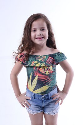 Body Feminino Infantil Ciganinha Folhagem