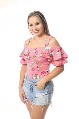 Body Feminino Adulto Unicórnio Rosa