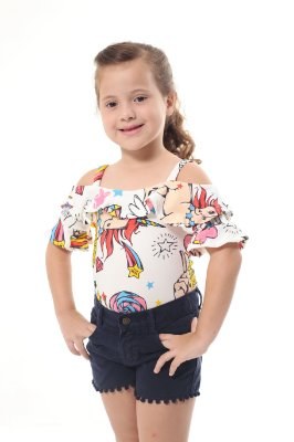 Body Feminino Infantil Unicórnio Branco