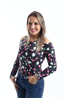 Body Feminino Adulto Flamingo Manga Longa