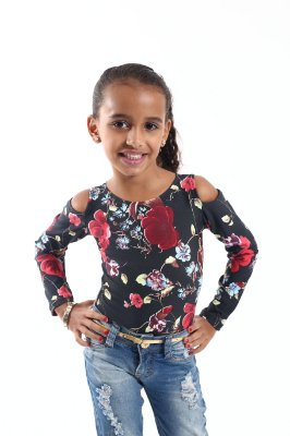 Body Feminino Infantil Rosas Manga Longa