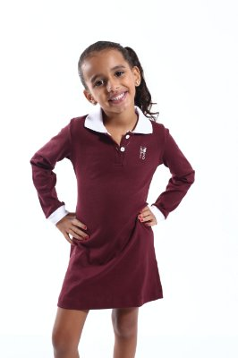 Vestido Infantil Manga Longa Vinho
