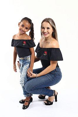 Mãe e Filha > Kit 02 Bodys Femininos Ciganinha Rosas  [Coleção Tal Mãe Tal Filha]