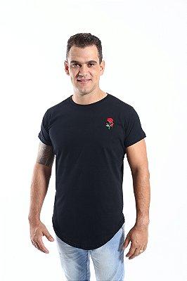 Camiseta Long Preta Rosa Bordada Masculina