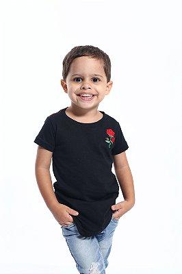 Camiseta Long Preta Infantil Masculina