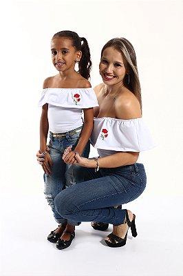 Mãe e Filha > Kit 02 Bodys Femininos Brancas Ciganinha Rosas  [Coleção Tal Mãe Tal Filha]