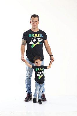 PAI E FILHO > Kit 02 Camisetas Long Pretas Copa do Mundo [Coleção Tal Pai Tal Filho]