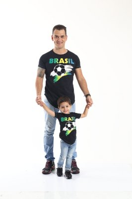 PAI E FILHO > Kit 02 Camisetas Long Pretas Brasil [Coleção Tal Pai Tal Filho]