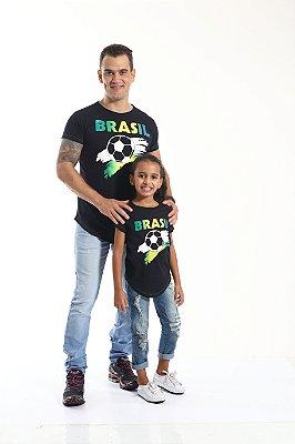 PAI E FILHA > Kit 02 Camisetas Long Pretas Copa do Mundo [Coleção Tal Pai Tal Filha]