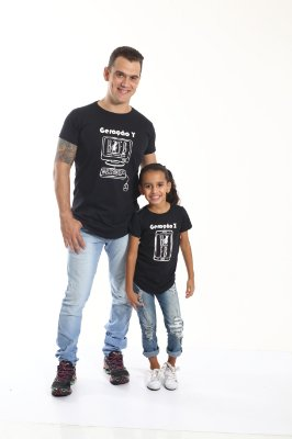 PAI E FILHA > Kit 02 Camisetas Long Geração Y e Z [Coleção Tal Pai Tal Filha]