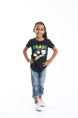 Camiseta Long Preta Infantil Copa do Mundo