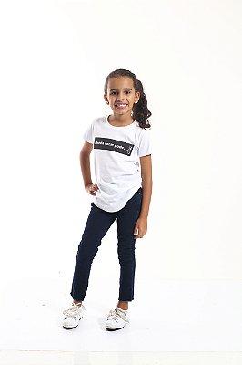 Camiseta Long Preta Infantil Manda Quem Pode