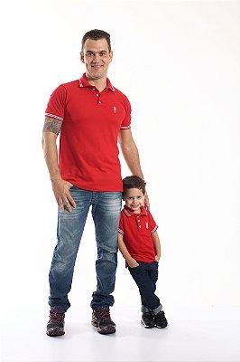 PAI E FILHO > Kit 02 Camisas Polo Vermelho Paixão  [Coleção Tal Pai Tal Filho]