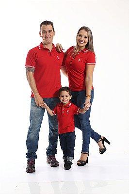 PAIS E FILHOS > Kit 3 peças Camisas Polo Vermelho Paixão [Coleção Família]