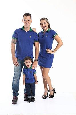 PAIS E FILHOS > Kit 3 peças Camisas e Vestido Polo Azul Royal [Coleção Família]
