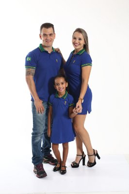 PAIS E FILHOS > Kit 3 peças Camisa e Vestidos Polo Azul Royal [Coleção Família]