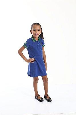 Vestido Polo Infantil Azul Copa do Mundo