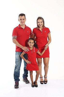 PAIS E FILHOS > Kit 3 peças Camisa e Vestidos Polo Vermelho Paixão [Coleção Família]