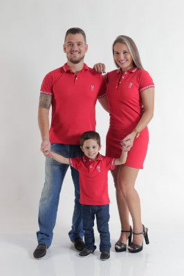 PAIS E FILHOS > Kit 3 peças Camisas e Vestido Polo Vermelho Paixão [Coleção Família]
