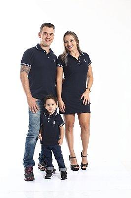 PAIS E FILHOS > Kit 3 peças Camisas e Vestido Polo Azul Marinho Céu [Coleção Família]