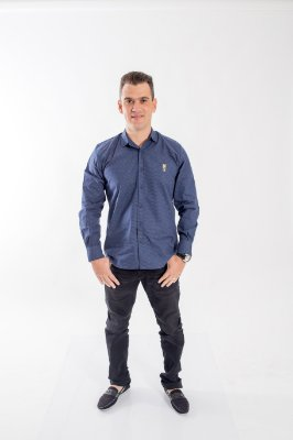Camisa Social Steven Seagal Azul Marinho Adulta