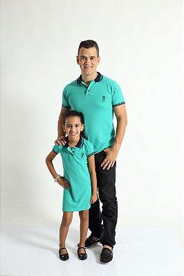 PAI E FILHA > Kit 02 Peças Camisa e Vestido Polo Verde Jade  [Coleção Tal Pai Tal Filha]