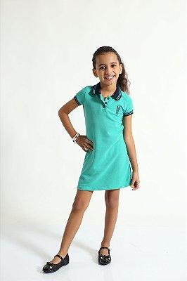 Vestido Polo Infantil Verde Jade