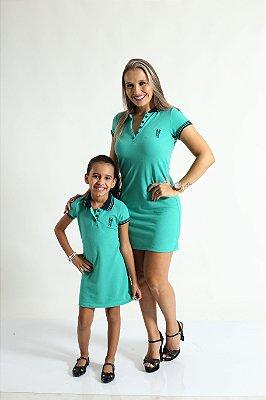 MÃE E FILHA > Kit 02 Vestidos Adulto e Infantil ou Body Verde Jade [Coleção Tal Mãe Tal Filha]